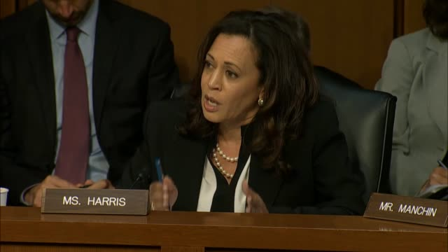 california senator kamala harris engages national security agency director mike rogers over discussions had with president donald trump rogers... - national security agency usa stock videos and b-roll footage