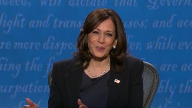 vidéos et rushes de california senator kamala harris is in televised debate with vice president mike pence that she and joe biden had probably one of the broadest... - salt lake city