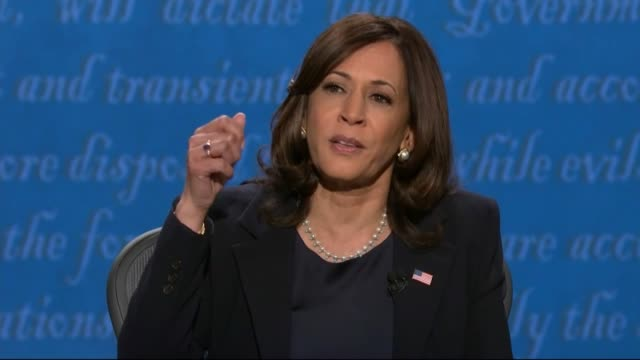 vidéos et rushes de california senator kamala harris is in televised debate with vice president mike pence that there was a time when the country believed in science and... - salt lake city