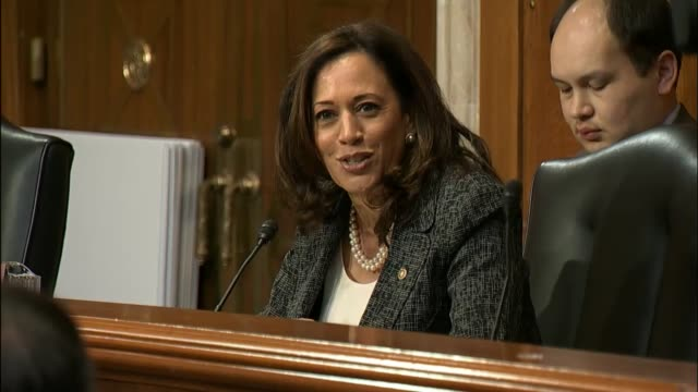 california senator kamala harris says at a hearing of the senate environment and public works committee introduces los angeles mayor eric garcetti to... - infamous stock videos & royalty-free footage