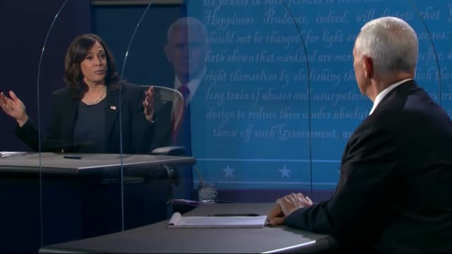 vidéos et rushes de california senator kamala harris says in concluding a televised debate with vice president mike pence to everybody watching to vote early, come up... - salt lake city