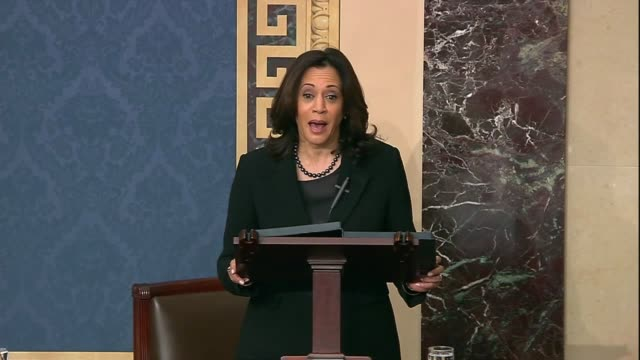 california senator kamala harris says in senate floor debate prior to votes on impeachment articles against president donald trump that in order to... - {{relatedsearchurl(carousel.phrase)}} video stock e b–roll
