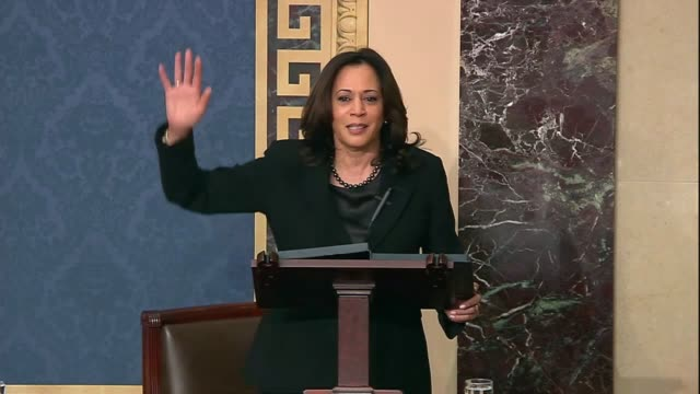 vídeos de stock, filmes e b-roll de california senator kamala harris says in senate floor debate prior to votes on impeachment articles against president donald trump that after the... - publicação