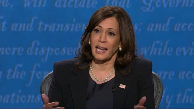 vidéos et rushes de california senator kamala harris says in televised debate with mike pence she was elected the first woman of color to be elected attorney general of... - salt lake city