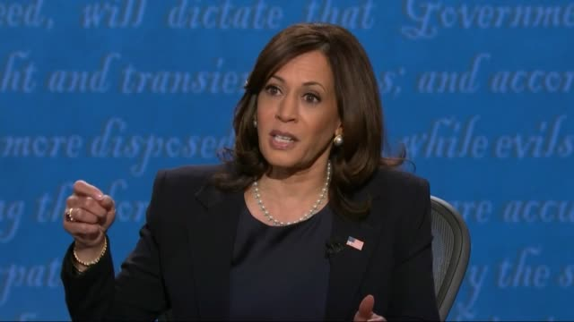 vidéos et rushes de california senator kamala harris says in televised debate with vice president mike pence of climate change issues that joe biden saw what was... - salt lake city