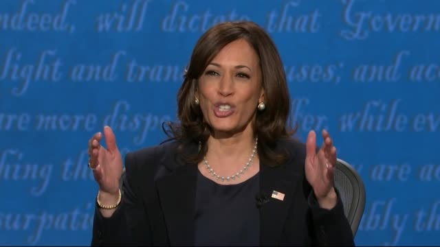 vidéos et rushes de california senator kamala harris says in televised debate with vice president mike pence on the question of law enforcement racism that she would not... - salt lake city