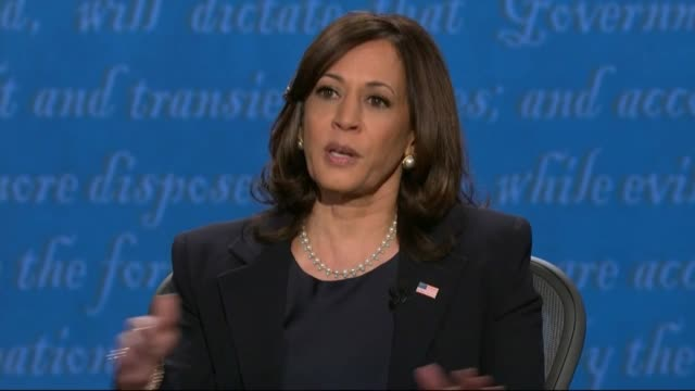 vidéos et rushes de california senator kamala harris says in televised debate with vice president mike pence that all new because of great investigative journalism that... - salt lake city