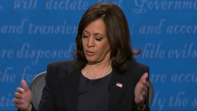 vidéos et rushes de california senator kamala harris says in televised debate with vice president mike pence that there could not be a more fundamental difference... - salt lake city