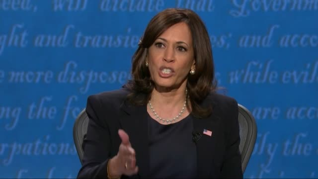 vidéos et rushes de california senator kamala harris says in televised debate with vice president mike pence that it was very important to talk about what a current... - salt lake city