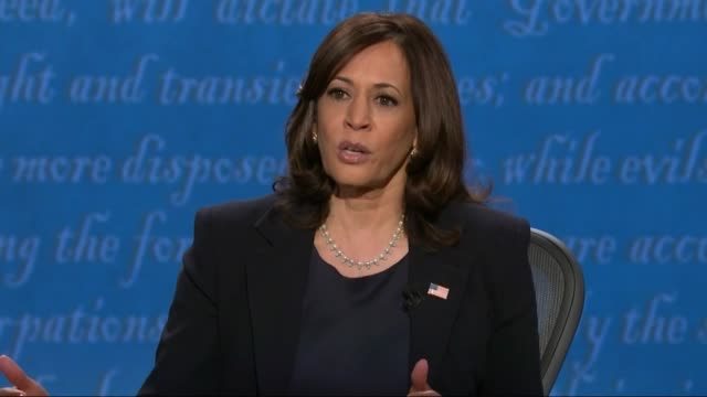 vidéos et rushes de california senator kamala harris says in televised debate with vice president mike pence on the question of confronting terrorist group isis that she... - salt lake city