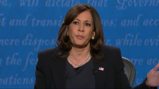 vidéos et rushes de california senator kamala harris says in televised debate with vice president mike pence that to talk about respecting the american people meant... - salt lake city