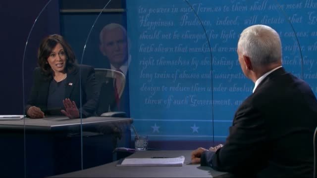 california senator kamala harris says in televised vice president mike pence that debate was supposed to be based on fact and truth joe biden had... - debatte stock-videos und b-roll-filmmaterial