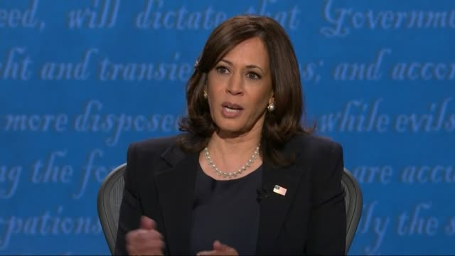 vidéos et rushes de california senator kamala harris says on the question of us china relations in televised debate with vice president mike pence that the trump... - salt lake city