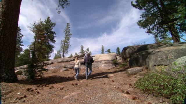 ws, la, tu, usa, california, shaver lake, couple walking up hill, rear view - hill stock videos & royalty-free footage