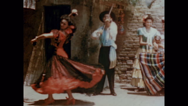 1947 california spanish locals play traditional music in the street - spanish culture stock videos & royalty-free footage
