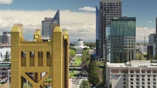 california state capitol mall, sacramento - aerial - sacramento stock videos & royalty-free footage