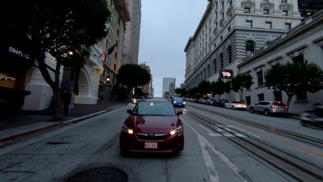 sfカリフォルニアストリートxiii同期シリーズリアビュー駆動プロセスプレート - カリフォルニアストリート点の映像素材/bロール