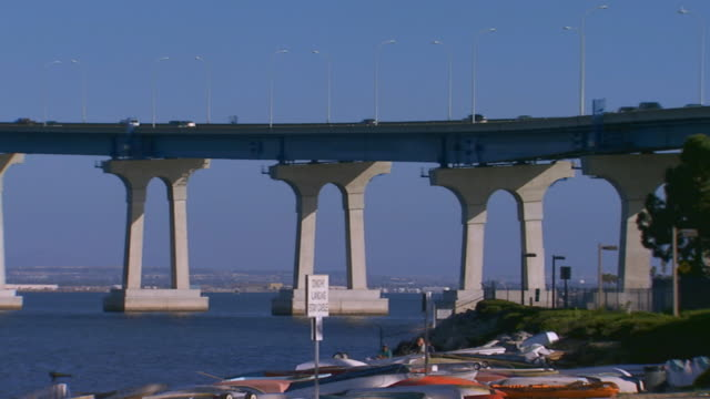 californiapan across the coronado bridge - fan palm tree stock videos and b-roll footage