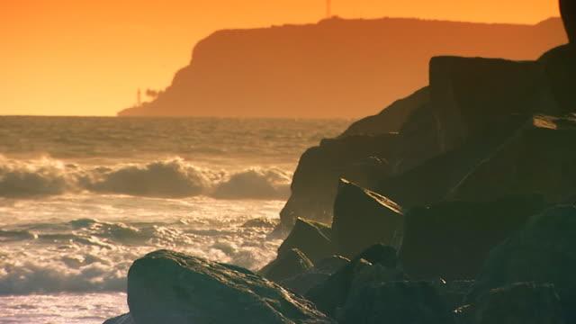 Californiawaves crashing on the rocks