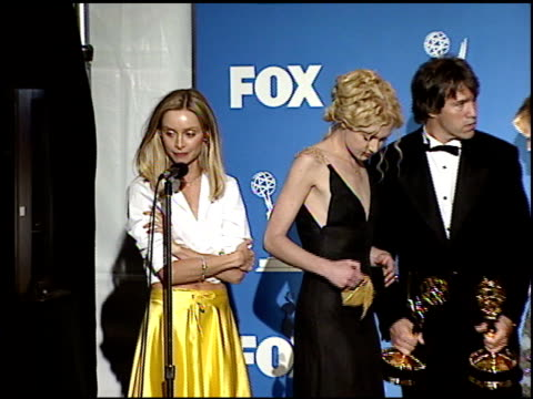 calista flockhart at the 1999 emmy awards press room at the shrine auditorium in los angeles, california on september 12, 1999. - calista flockhart stock-videos und b-roll-filmmaterial
