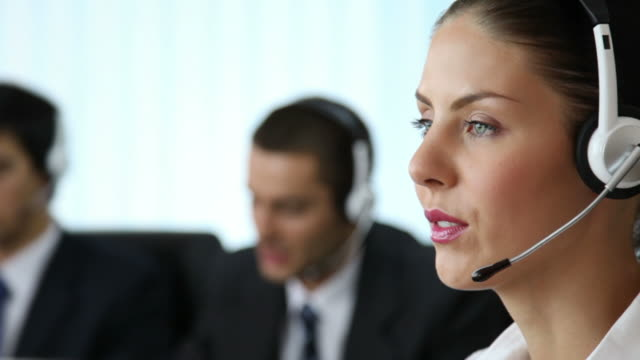 call center phone operators working - sales team stock videos and b-roll footage