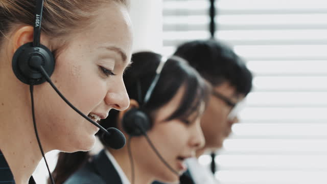 call center team working - cross section stock videos & royalty-free footage