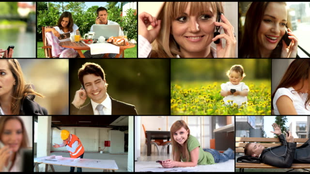 hd montage: call me gesture - composite image stock videos & royalty-free footage