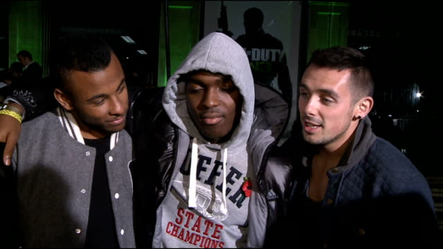 'call of duty modern warfare 3' launch in london celebrity arrivals the risk interview sot on being voted off the x factor / the remaining acts want... - cheek to cheek stock videos & royalty-free footage