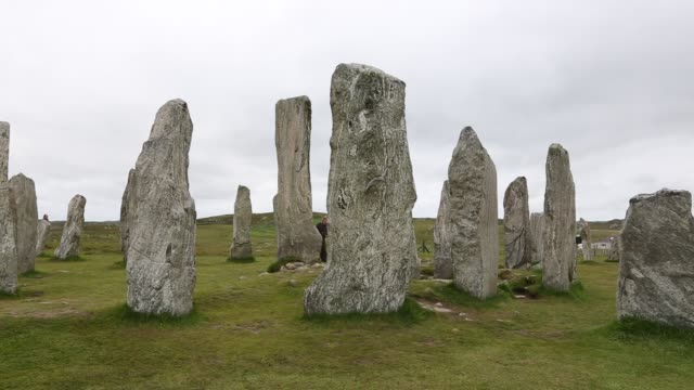 callanish standing stones and stone circle on the isle of lewis near stornoway, outer hebrides, scotland, uk. the stone circle is probably the most... - history stock videos & royalty-free footage