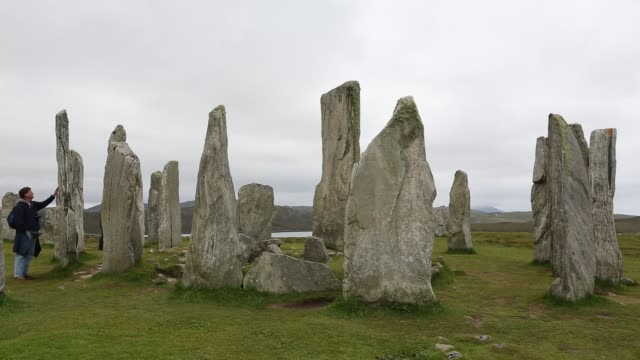 callanish standing stones and stone circle on the isle of lewis near stornoway outer hebrides scotland uk the stone circle is probably the most... - hebrides stock videos & royalty-free footage