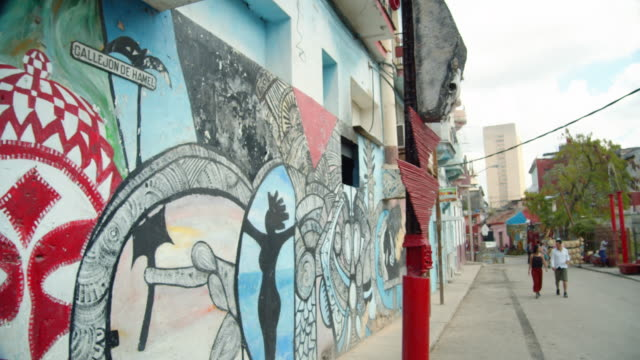 callejon de hamel street at havana centro, cuba. touristic spot with artist paintings on the wall - banner sign stock videos & royalty-free footage