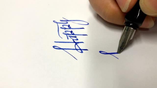 vídeos de stock e filmes b-roll de calligraphy - assinar