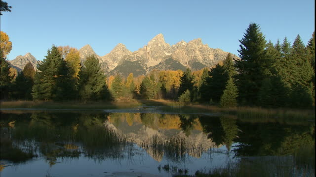 A calm lake reflects the Teton Mountains.