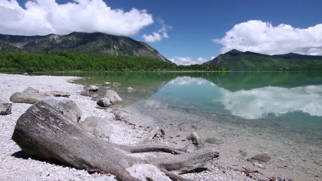 pan calm shores of lake walchensee and the mountains that boarder it / bavaria, germany - 流木点の映像素材/bロール