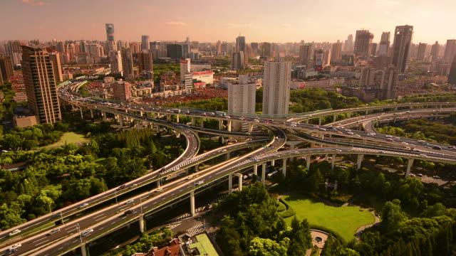 calm traffic at ya'nan east interchange, shanghai, china. - east china stock videos & royalty-free footage