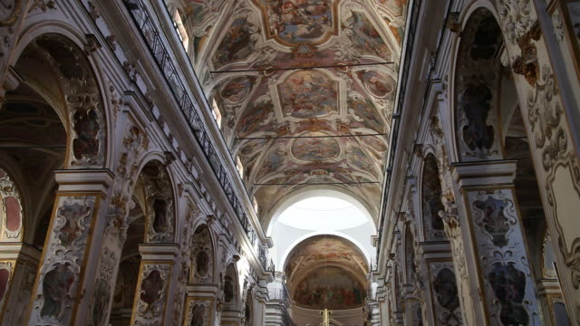 Caltanissetts, interior view of the Cathedral (Duomo), the nave, piazza Garibaldi