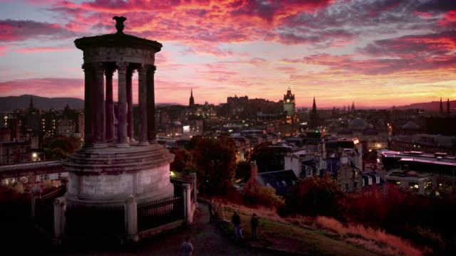 calton hill, edinburgh, scotland - edinburgh scotland stock videos & royalty-free footage