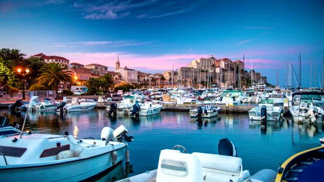 calvi from corsica - marina stock videos & royalty-free footage