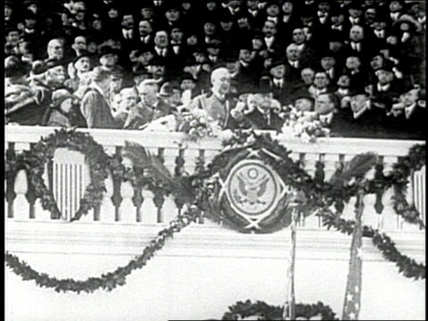 vídeos de stock, filmes e b-roll de calvin coolidge becomes president of the united states in 1923 after the death of warren harding - 1923