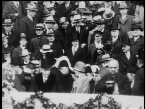 Calvin Coolidge Herbert Hoover with crowd at inauguration / newsreel