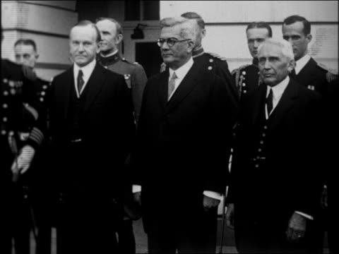 Calvin Coolidge posing with Sec of State Kellogg Cuban president Machado / newsreel
