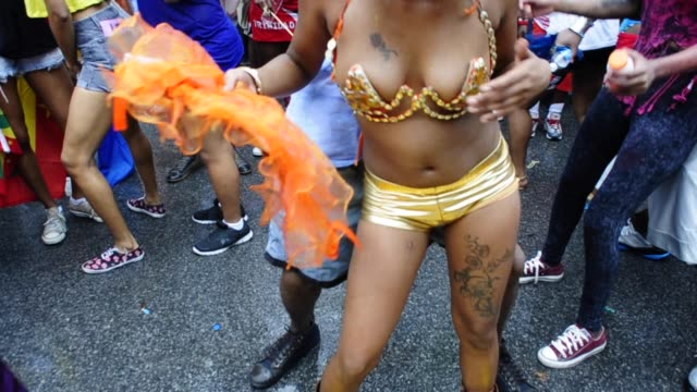 Calypso Socca music dancers at the Labor Day Parade Explicit Dancing Eastern Parkway Crown Heights Brooklyn New York City USA Also known as the West...