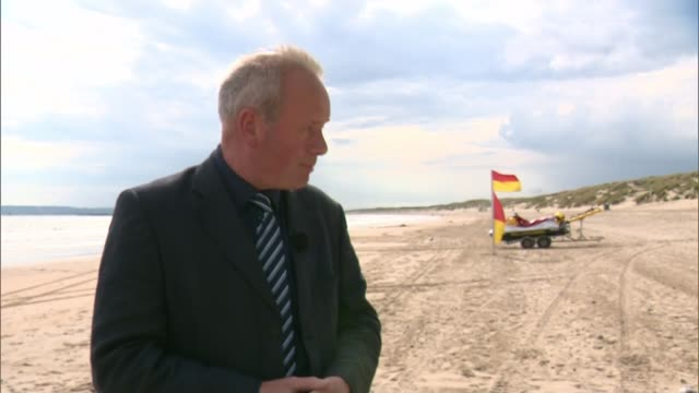 vídeos de stock e filmes b-roll de inquest gives verdict of misadventure on seven drownings england east sussex camber sands ext reporter to camera canada toronto ext patrick meyer... - east sussex