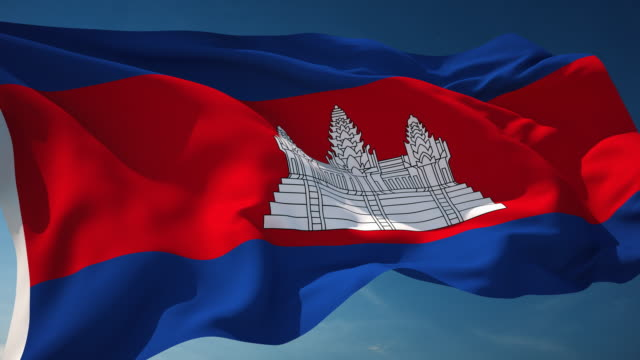 4k cambodia flag - loopable - phnom penh stock videos and b-roll footage
