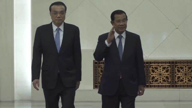 Cambodian Prime Minister Hun Sen meets Chinese counterpart Li Keqiang during his visit to China