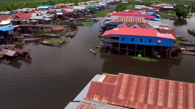 cambodian stilt houses by air - stilts stock videos and b-roll footage