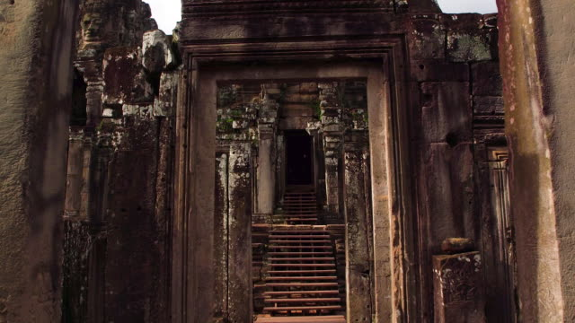 cambodian temple (khmer temple) old ruin - temple building video stock e b–roll