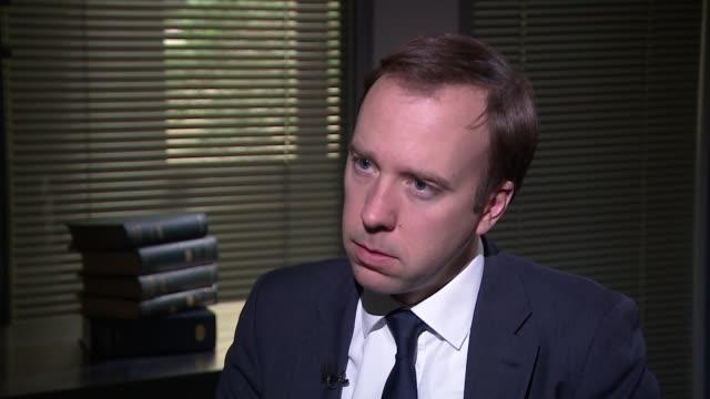 matt hancock interview england london int matt hancock mp interview sot - data breach stock videos and b-roll footage