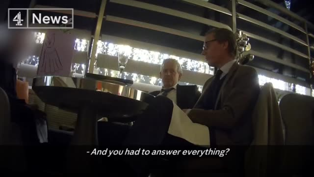 Cambridge Analytica undercover investigation footage American political campaigns ENGLAND London Alexander Nix and Mark Turnbull sat at restaurant...