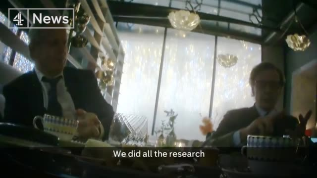 Cambridge Analytica undercover investigation footage Discussing Donald Trump ENGLAND London Alexander Nix and Mark Turnbull sat at restaurant table...